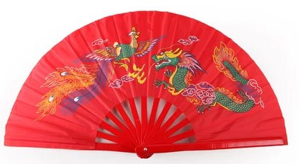 Tai Chi Fan Dragon & Phoenix Red