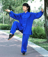 Load image into Gallery viewer, Marine Blue Hemp and Linen Wudang Tai Chi Uniform with Cuffs for Men and Women