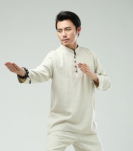 White Commoner Men's Casual Loose Long-Sleeved Shirt Retro Chinese Style