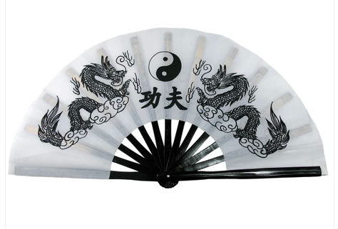 Tai Chi Fan Yin-Yang Dragon White