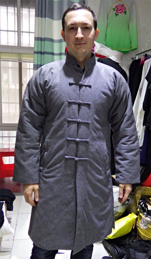 Grey 100% Sheep Wool Long Winter Jacket