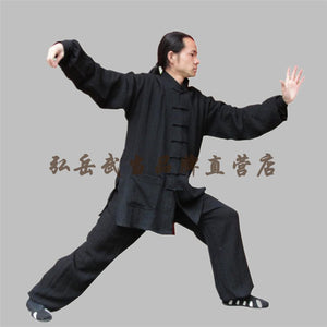 Black Hemp and Linen Wudang Tai Chi Uniform with Cuffs for Men and Women