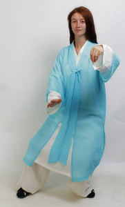 Sky Blue Chiffon Wudang Taoist Overcoat for Men and Women