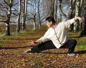 Hemp and Linen Wudang Tai Chi Uniform with Open Sleeves: White Shirt with Black Outerseam, Black Pants for Men and Women