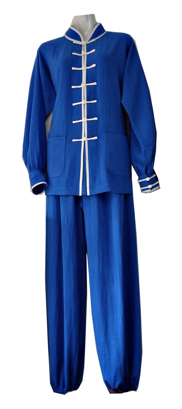 Blue Hemp and Linen Wudang Tai Chi Uniform with Cuffs and White Outerseam for Men and Women