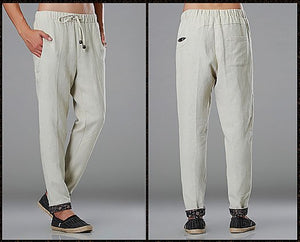 White Commoner Wind Cuffs Low-Crotch Carrot Pants