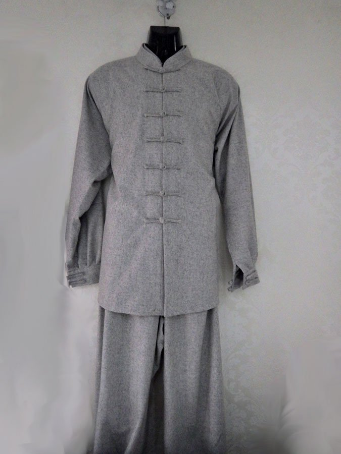 Warm Real Sheep Wool Grey Wudang Tai Chi Uniform with Cuffs for Men and Women