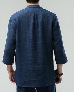Blue Commoner Chinese Men Casual Han Chinese 3/4 Sleeve Shirt