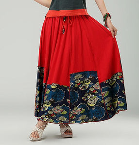 Red Retro Women's Casual Cotton Pleated Skirt