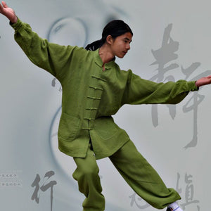 Green Hemp and Linen Wudang Tai Chi Suit with Cuffs for Men and Women