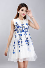 Load image into Gallery viewer, Chinese Traditional Style White Chiffon Dress With Blue Flowers Embroidery
