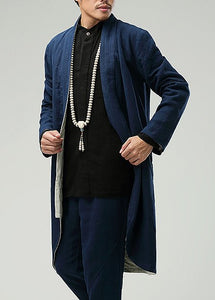 Blue Commoner Chinese Style Men's Windbreaker Loose Casual Zen Chinese Robe