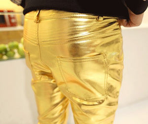 Sexy Men Leather Dancing Pants In Gold, Silver, Black