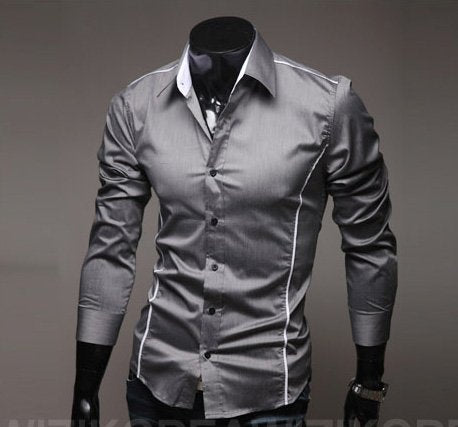 Silver Grey Young Fashion Men´s Casual Business Shirt Striped Slim