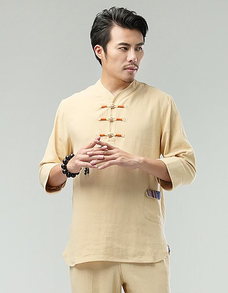 Yellow Commoner Chinese Men Casual Han Chinese 3/4 Sleeve Shirt