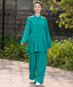 Teal Green Hemp and Linen Wudang Tai Chi Uniform with Cuffs for Men and Women
