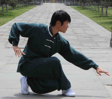 Load image into Gallery viewer, 3 Button White Outerseam Petrol Green Hemp and Linen Wudang Tai Chi Uniform