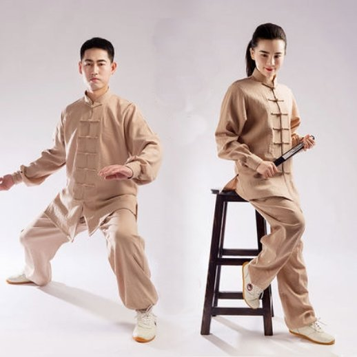 Beige Hemp and Linen Wudang Tai Chi Uniform with Cuffs for Men and Women
