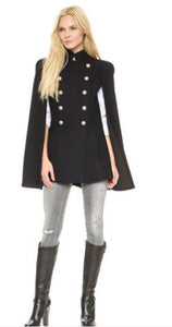 Military Style Long Coat, Wing Sleeves