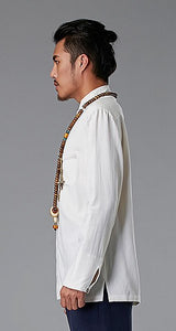 White Commoner Chinese Style Men's Shirt Casual Long-Sleeved