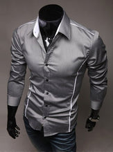 Load image into Gallery viewer, Silver Grey Young Fashion Men´s Casual Business Shirt Striped Slim