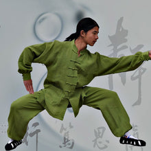 Load image into Gallery viewer, Green Hemp and Linen Wudang Tai Chi Suit with Cuffs for Men and Women