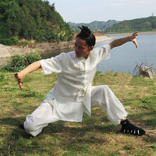 Load image into Gallery viewer, White Hemp and Linen Wudang Tai Chi Uniform with Short Sleeves for Men and Women