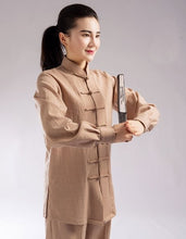 Load image into Gallery viewer, Beige Hemp and Linen Wudang Tai Chi Uniform with Cuffs for Men and Women