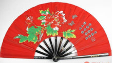 Load image into Gallery viewer, Red Metal Tai Chi Fan With Piony