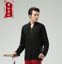 Load image into Gallery viewer, Black Commoner Chinese Style Men's Long-Sleeved Shirt