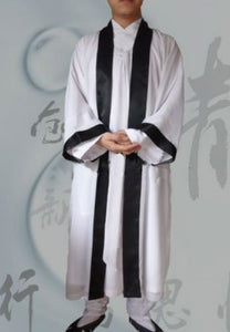 White Satin Wudang Taoist Overcoat with Black Outerseam for Men and Women