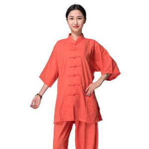 Hot Orange Hemp and Linen Wudang Tai Chi Uniform with Short Sleeves for Women