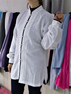 White Hemp and Linen Wudang Tai Chi Shirt with Cuffs and Black Outerlines for Men and Women