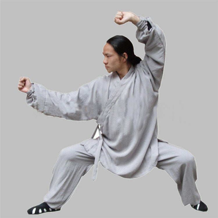 Grey Silk and Linen Wudang Tai Chi Uniform with Cuffs for Men and Women
