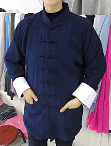 Navy Blue Hemp and Linen Wudang Tai Chi Shirt with White Cuffs for Men and Women
