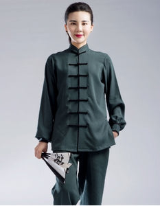 Black Outerseam Petrol Green Hemp and Linen Wudang Tai Chi Clothing with Cuffs
