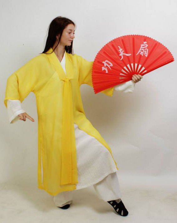 Yellow Chiffon Wudang Taoist Overcoat for Men and Women