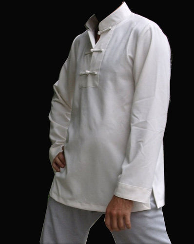 3 Buttons Hemp and Linen White Tai Chi Shirt for Men and Women