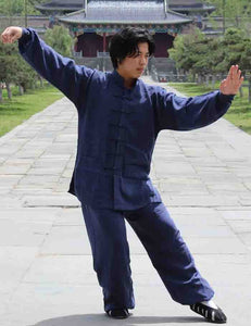 Navy Blue Hemp and Linen Wudang Tai Chi Uniform with Cuffs for Men and Women