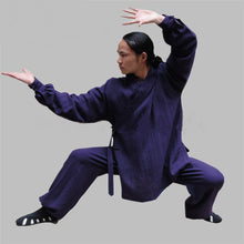 Load image into Gallery viewer, Navy Blue Silk and Linen Wudang Tai Chi Uniform with Cuffs for Men and Women