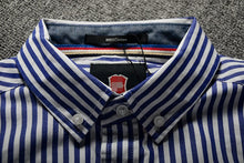 Load image into Gallery viewer, Striped Business Shirt White & Navy Blue