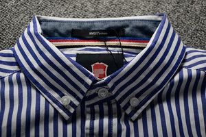 Striped Business Shirt White & Navy Blue
