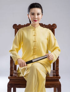 Yellow Hemp and Linen Wudang Small Buttons Tai Chi Clothing with Open Arms for Men and Women