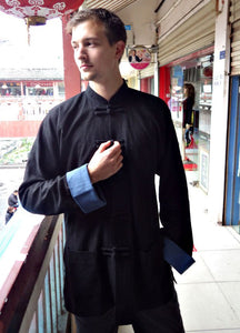 100% Real Heavy Linen Material Black Tai Chi Sakko with Blue Cuffs for Men and women