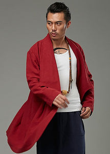 Red Designer Chinese Style Chinese Men's Winter Long Coat