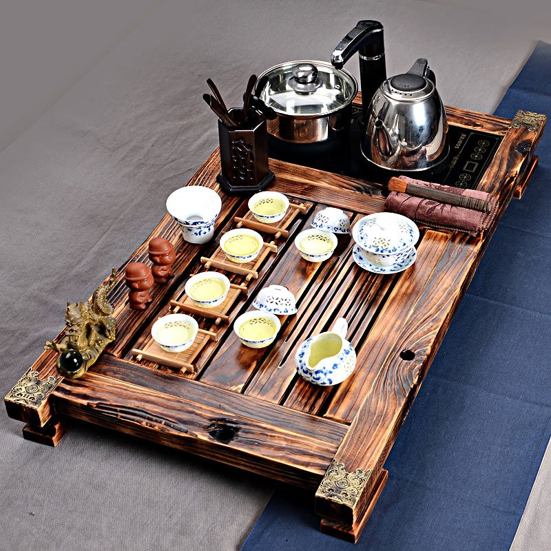 Rustical Wooden Tea Set with Electric Cooker and Pot