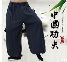 Load image into Gallery viewer, Blue Commoner Chinese Kung Fu Style Cotton Pants