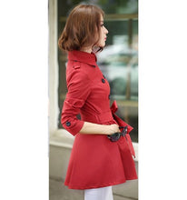 Load image into Gallery viewer, Red Waterproof Rain Trenchcoat Korean Fashion Designer