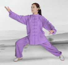 Load image into Gallery viewer, Light Purple Hemp and Linen Wudang Tai Chi Uniform with Cuffs