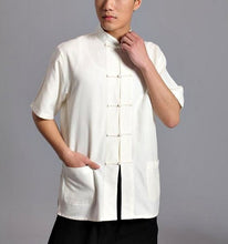 Load image into Gallery viewer, White Wudang Trainer Hemp and Linen Summer Tai Chi Shirt